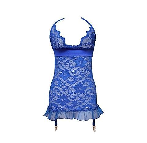 SMSM Style Occidental Sous-Vêtements Sexy Adulte Dentelle à Encolure Écharpe à la Mode Extrême Tentation Pleine Transparence Robe de Soirée Sexy Femmes,S,Bleu