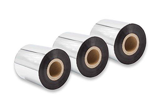 vhbw 3X Thermo-Folie Thermotransferband schwarz 70mm für Fax Drucker TSC TTP-2410M, TTP-245 Plus, TTP-246M Plus, TTP-247, TTP-268M, TTP-343 Plus -