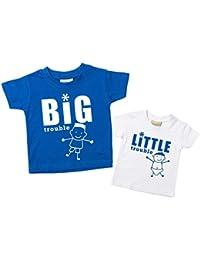 Big Trouble poco camiseta de problemas de Brother accenter hermanos para bebé azul o rojo disponible