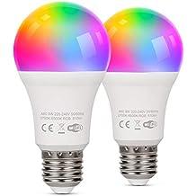 TAOCOCO Bombilla LED inteligente WiFi con luz cálida Luz de color variable 2700k-6200k + RGB,Compatible con Alexa, Echo, Google Home e IFTTT, E27 9W RGB Color Cambio Bombilla, 2 PCS