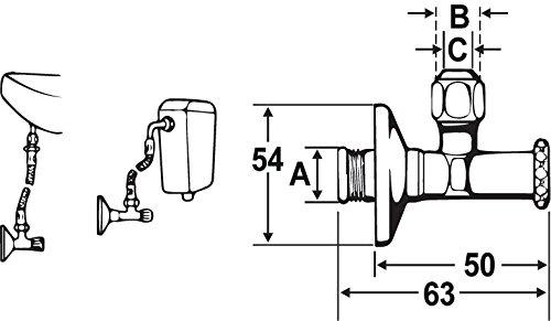 Cornat Eckventil, kurze Ausführung, selbstdichtend, 1 Stück, T317013