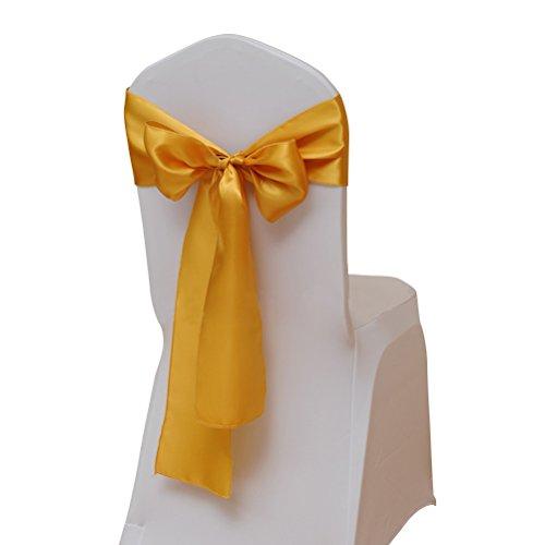 WINOMO 10PCSchein Dekorative Satin-Schärpe-Bogen entwarf für Hochzeitsereignisse (Gold) -