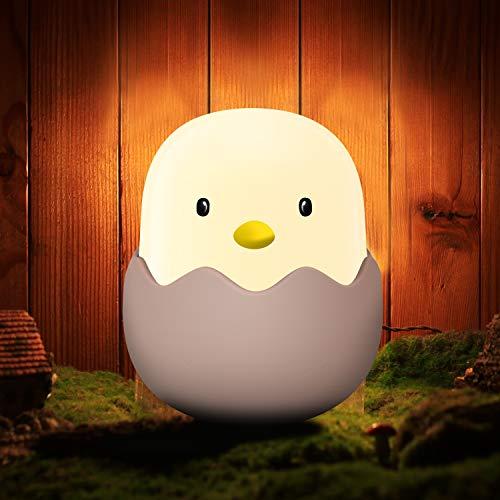 Luz de noche para niños, Aappy Tumbler Lámpara de diseño de cáscara de huevo linda portátil con brillo ajustable LED recargable para guarderías Baby Nightlights (blanco cálido)