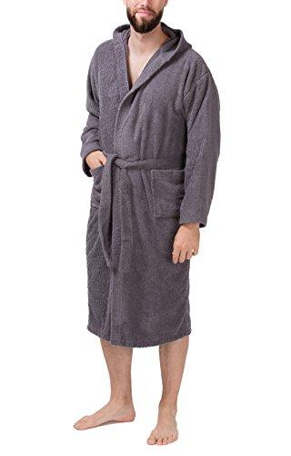 100% Baumwolle Frottee-bademantel (SLOUCHER - Herren Frottee Bademantel Saunamantel mit Kapuze aus 100% Baumwolle, Farbe:grau, Größe:XL)