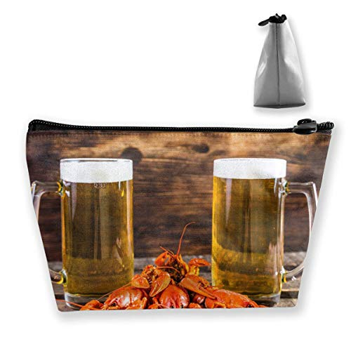 Summer Lobster and Beer Multi-Functional Trapezoidal Storage Bag Toiletry Bag Zipper Receive Bag -