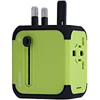 feifuns Cube Plug,New Universal Travel Adapter UK Plug with Dual USB Charging Ports for Apple, iPod, iPad, Android Smartphone and Digital CamerasUniversal AC Socket, Safety Fused (Green)