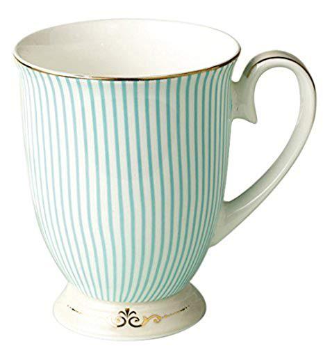YBK Tech Euro Stil Kunst Knochen China keramisch Tee Kaffee Tasse für Frühstück Zuhause Küche (Blauen Streifen-Muster)