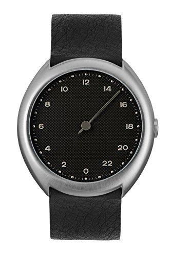 slow O 05 - Schweizer Unisex Einzeigerarmbanduhr analoge 24 Stunden Anzeige silber mit schwarzem Lederband