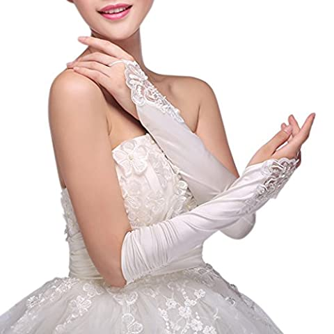 Gants de Mariée Gants de Soirée Gants Fête déguisement Bal Gants Long Dentelle à Fleur Woman Wedding Glove lace de Mariage Elégant en Satin Fantaisie Pour Femme Fille Robe Multiples Couleurs