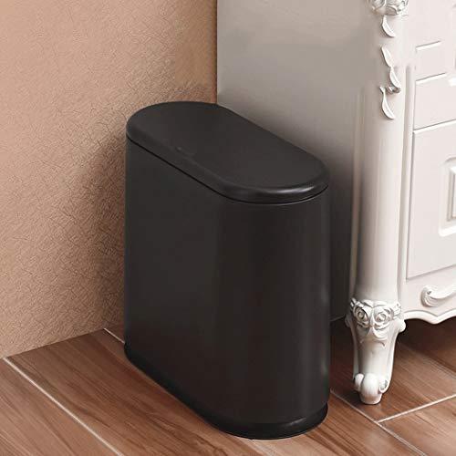 LF-trash bin Nordic Mülleimer Pressentyp Kunststoff Push-Cover-Typ Touch-Papierkorb Mülleimer Recycling Küche Bad Klassifizierung Mülleimer Bad Mülleimer Papierkorb (Color : Schwarz)