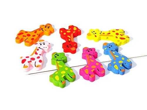 7 Motivperlen Holzperlen Kinderperlen, Mix, Giraffe, T22