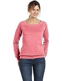 Bella + Canvas Womens Sponge Fleece Wide Neck Sweatshirt (7501) RED MARBLE FLC