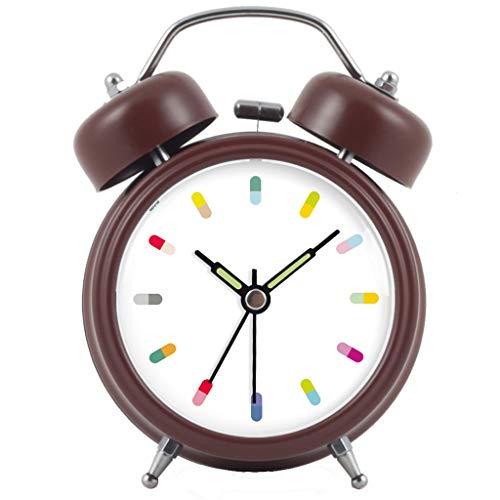 LIQIN Wecker Nachtlicht Stumm Schlaf Faul Einfache Doppel Glocke Moderne Mode Bett Schönes Zuhause Kreative Persönlichkeit Multi-Color Optional 9 cm * 5 cm * 12 cm (Color : Brown) -