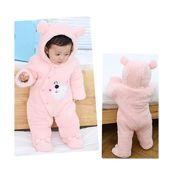 Bebé Mono Invierno Mameluco Vellón Body Recién nacido Peleles Traje de Nieve Pijamas Espesar Traje de Dormir, 0-3 Meses 2