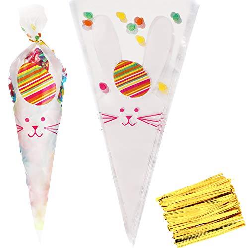 Ostern Cellophan Taschen Bunny Muster Kunststoff Treat Taschen Karotte Goody Taschen mit Gold Drehung Krawatten für Ostern Party Vorräte (Stil 1) ()