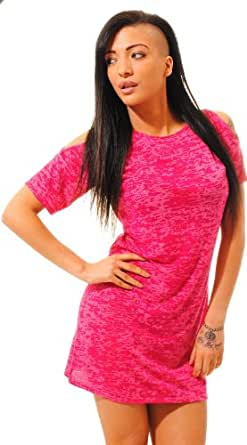 NEW WOMENS NEON DRESS CUT SHOULDER DRESS BURNOUT OVERSIZED FUCHSIA T-SHIRT DRESS