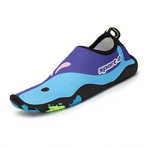 SAGUARO® Sommer Kinder Badeschuhe Aquaschuhe Slip on Schwimmschuhe Leicht Wasserschuhe Rutschfeste Strandschuhe für Jungen Mädchen, Violett Tarnung 30