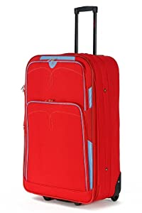 """5 Cities Large 26"""" Inch Lightweight Expandable Suitcase, Check-in Luggage Wheeled Rolling Bag with 3 Years Warranty! (Red 635)"""