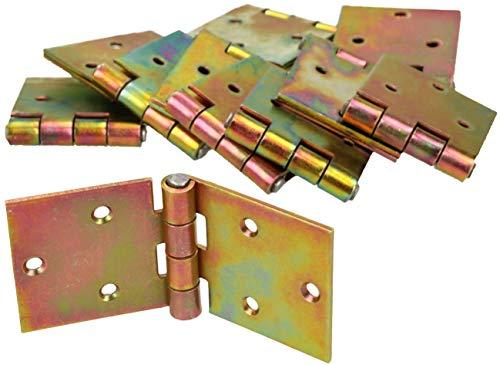 KOTARBAU Kistenband 100 x 50 mm 10 St. Scharnier Gerollte Tischband Möbelscharnier Verzinkt Gold Torband Möbelband Türscharnier 2 Flügel Top-Qualität
