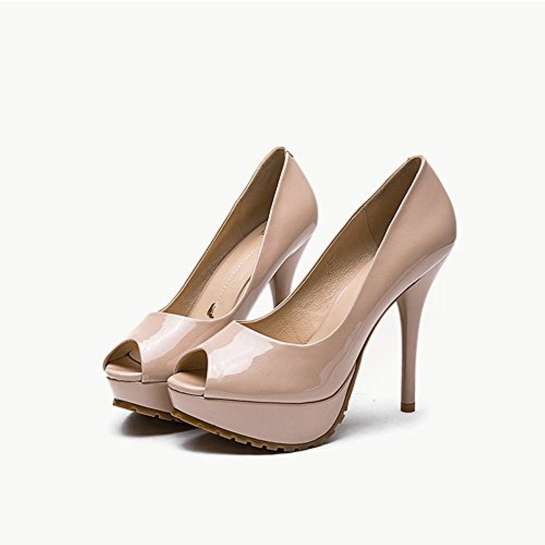 Sandalias Feifei Zapatos de Mujer Verano PU Material Moda Boca de Pescado Boca Poco Profunda Plataforma Impermeable...