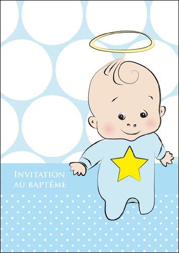 Kartenkaufrausch Im 5er Set: Süße Blaue französische Einladungskarte zur Taufe, Babytaufe mit Baby Junge, Stern und Heiligenschein: Invitation au baptême