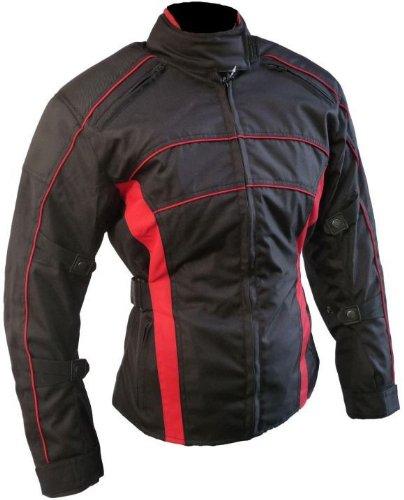 *Heyberry Damen Motorrad Jacke Motorradjacke Schwarz Rot Gr.S*