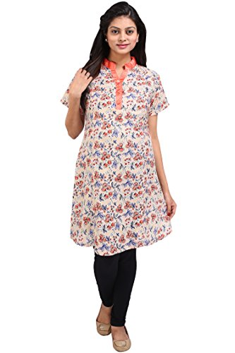 MomToBe Women's Rayon A-Line Maternity Kurti, Pink Floral Printed