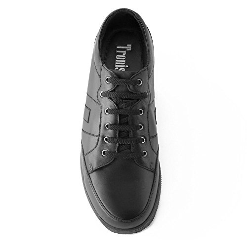 Masaltos Chaussures Réhaussantes Pour Homme avec Semelle Augmentant la Taille JusquÀ 7cm. Fabriquées en Peau. Modèle Ibiza B Noir