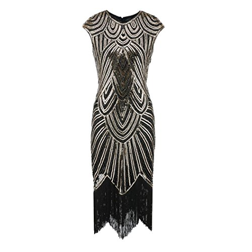 gaddrt Frauen Kleid Quaste Prom Kleider Perlen Pailletten Art Nouveau Deco Flapper (Gold, XL)