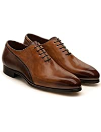 71cf26d50c87 Costoso Italiano Brown   Tan Leather Formal Lace Up Brogue Oxford Shoes for  Men