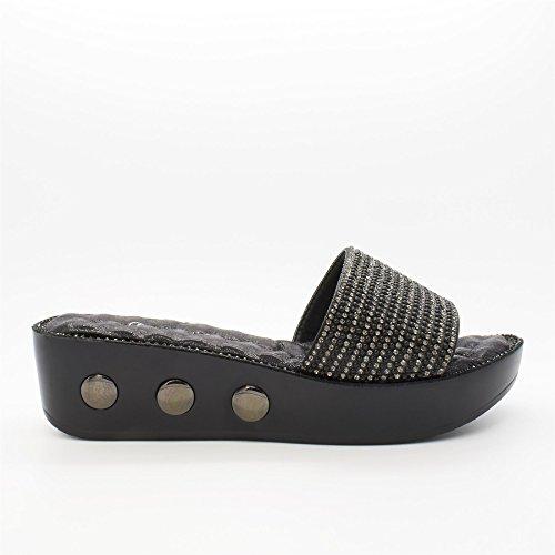 London Schuhe Zilla, mit Damen Wedge Schuhe Schwarz