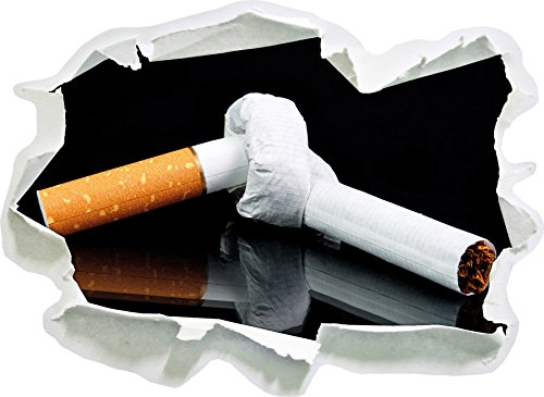 Stil.Zeit Dark Zigarette mit Knoten Don't Smoke, Papier 3D-Wandsticker Format: 92x67 cm Wanddekoration 3D-Wandaufkleber Wandtattoo