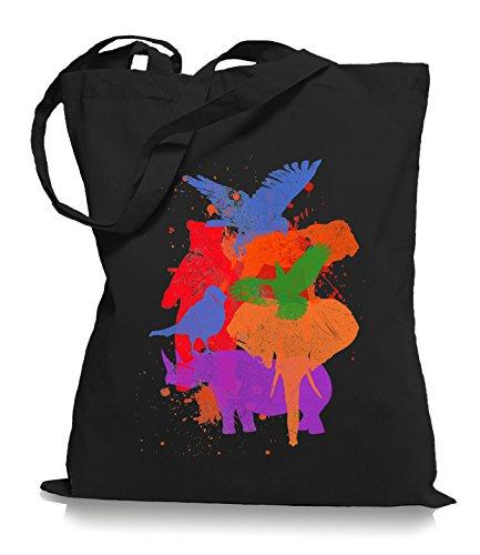 Ma2ca® Wild Animals - Jutebeutel Stoffbeutel Tragetasche / Bag WM101 Black