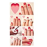 AMA(TM) 15pcs/Set Nail Art Transfer Stickers 3D Design Manicure Tips Decal Decor Nail Tips Decorations (Pimk)