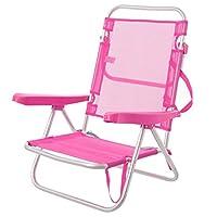 Sedia di bracci per spiaggia pop in alluminio rosa.Questa sedia pieghevole e reclinabile con 4posizioni, ha un sistema di piegatura llamado di snodo, cioè sulla seduta, è anche conosciuta di tipo Tripolina, che è un sistema di piegatura prog...