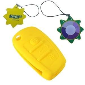 HQRP Etui de protection pour coque clé télecommande jaune pour Audi A3 A4 A4L A5 A6 A6L A8 TT Q5 Q7 R8 RS4 S4 S5 S6 S8
