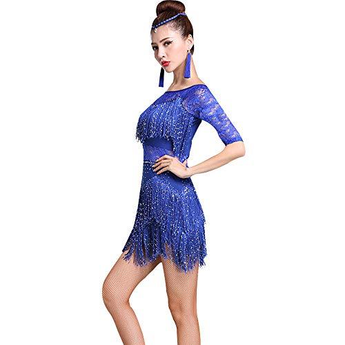 Dance Kostüm Fringe Jazz - GOWE Damen Latin Dance Kostüme - Kurzarm Quasten Fransen Latin Dress Praxis Salsa Tango Ballsaal Rumba Performance Dance Kleid für Mädchen Competition Dance Kostüme, Dunkelblau-Stil1/M