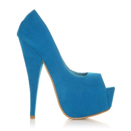 ShuWish UK - Chaussures Compensées Escarpins Talon Très Haut Faux Daim Bout Ouvert Daim turquoise
