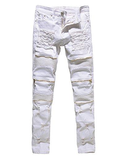 Herren Biker Jeans Stretch Denim Hose Slim Fit Zipper Zerrissen Jeanshosen Weiß 34