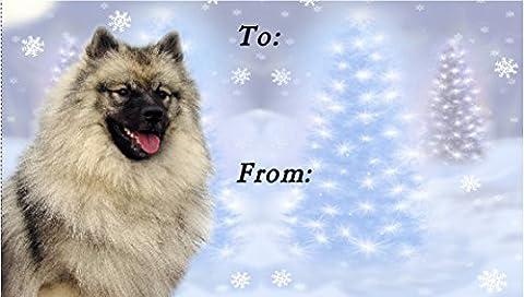 Keeshond Dog Christmas Labels (42) - Self Adhesive