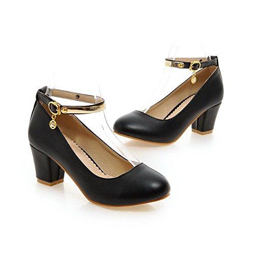 VogueZone009 Femme Rond Boucle Couleur Unie à Talon Correct Chaussures Légeres Noir