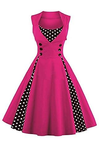 YMING Femmes Robe de Soirée année 1950 Style Audrey Hepburn Rockabilly Robe à pois avec Boutons Swing Robe sans manche Grande Taille,Fuchsia,XXXL / FR 46-50