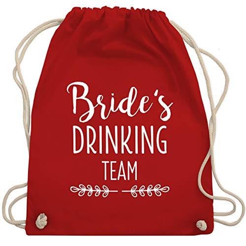 JGA Junggesellinnenabschied - Bride's Drinking Team - Unisize - Rot - WM110 - Turnbeutel & Gym (Stagette Kostüm)