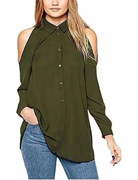 BienBien Camicia Donna Casual Chiffon T Shirt Estiva Elegante Spalle Scoperte Maglie Moda Manica Lunga Sottile...