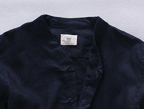 Insun Herren Herren Hemd Mode Stehkragen Einfarbig Langarm Shirts Dunkelblau