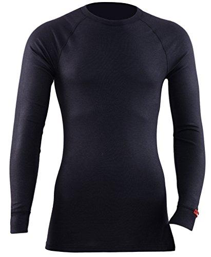 BLACKSPADE Unisex Winter Thermo aktiver High rund Hals lang Ärmel T Shirt, Weiß oder Schwarz, S-XXL Schwarz