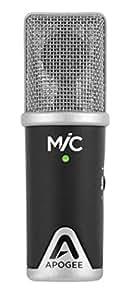 Apogee MIC Mobile phone/smartphone microphone Wired Black,Silver microphone - microphones (Mobile phone/smartphone microphone, Cardioid, Wired, 0.5 m, Mac OS 10.6.4+ , 1GB RAM, USB, Black, Silver)