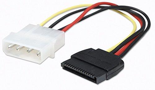 Manhattan 342766 SATA Stromkabel, 4-polig Molex-Stecker auf 15-polig Stecker, 15 cm weiß/schwarz