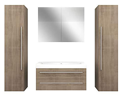 Badmöbel Set City 101 V7 Eiche hell, Badezimmermöbel Waschtisch 100cm, Beleuchtung Spiegelschrank:JA mit 1x 5W LED-Strahler