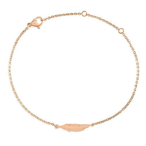 Schönes Armband aus Edelstahl mit Feder Motiv in Farbe Rosegold für Damen mit verstellbarer Länge | wundervoller Rosé Schmuck (Armreifen Gold Dünne Armbänder)